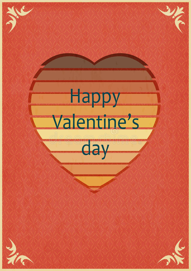 Diseño retro de tarjeta de las tarjetas del día de San Valentín ilustración del vector