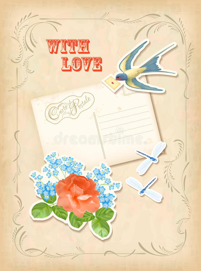 Diseño retro del amor de la tarjeta del elemento del libro de recuerdos del vintage ilustración del vector