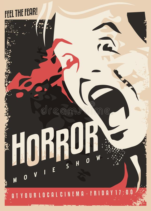 Diseño retro del cartel del cine de la demostración de la película de terror ilustración del vector