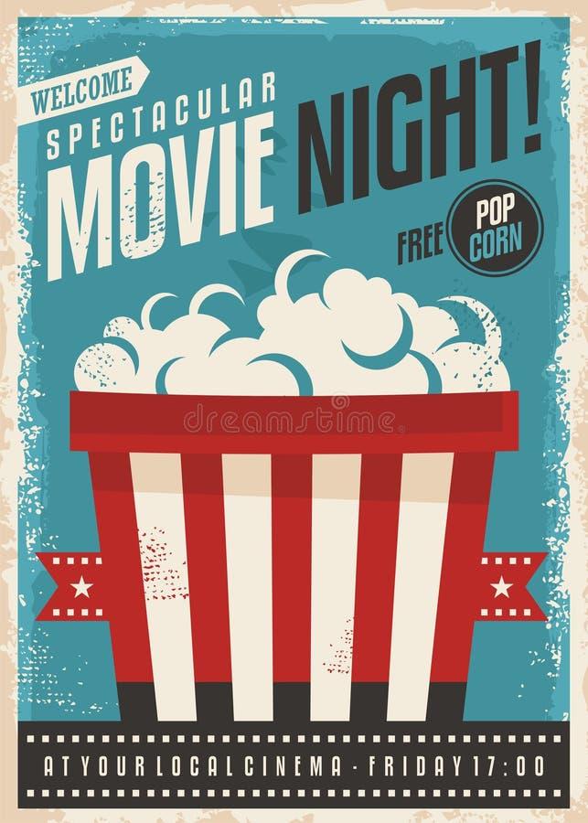 Diseño retro del cartel de la noche de película stock de ilustración