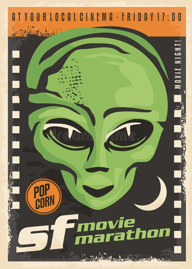 Diseño retro del cartel de la noche de película de la ciencia ficción stock de ilustración