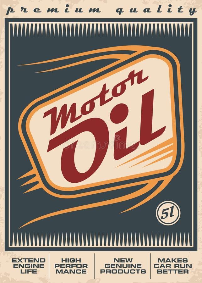 Diseño retro del cartel del vector del aceite de motor ilustración del vector