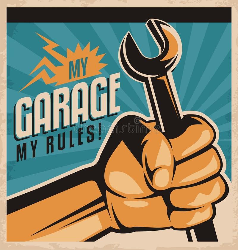 Diseño retro del cartel para el mecánico de automóviles stock de ilustración