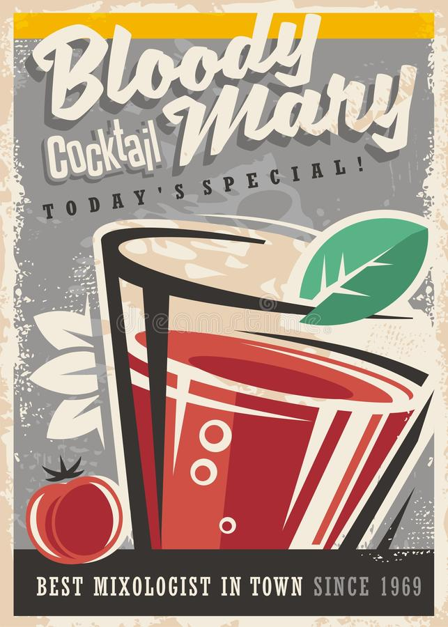 Diseño retro del cartel para el salón de cóctel stock de ilustración