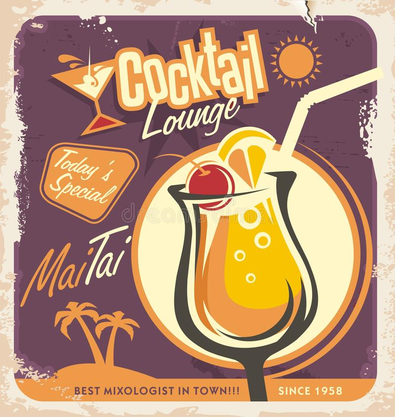 Diseño retro del cartel para uno de los cócteles más populares stock de ilustración
