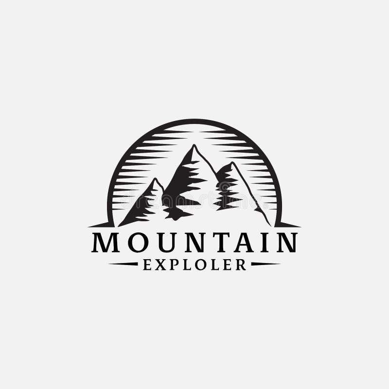 Diseño retro del inconformista del logotipo del explorador de las montañas stock de ilustración