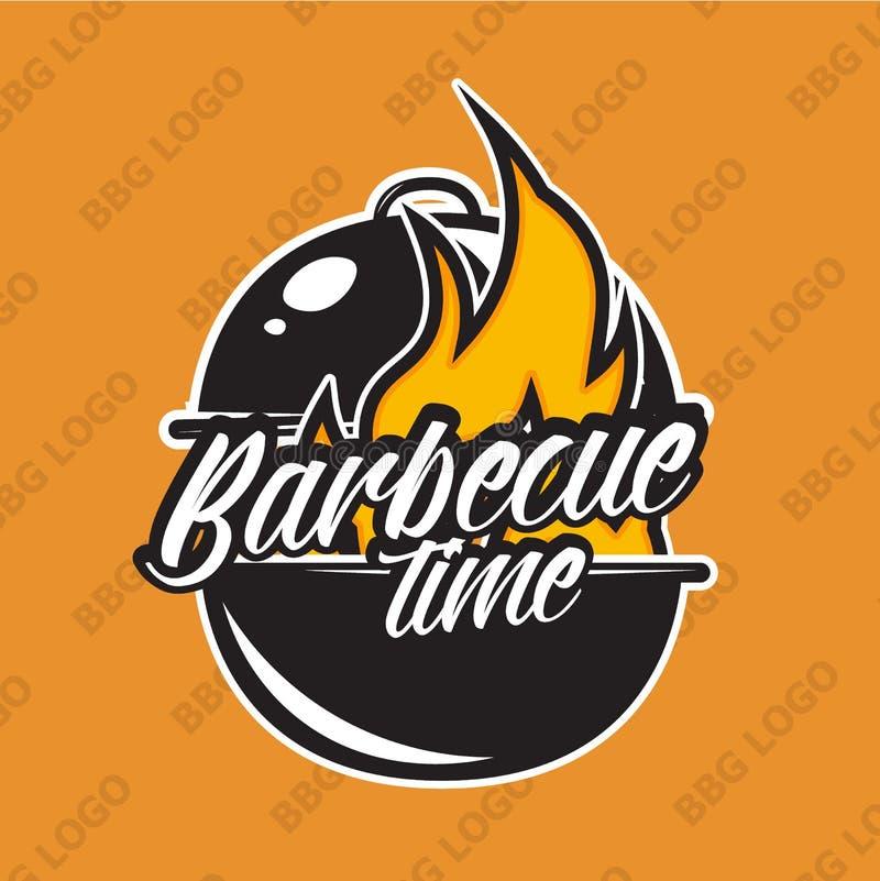 Diseño retro del logotipo de la barbacoa con el fuego Ilustración del vector ilustración del vector