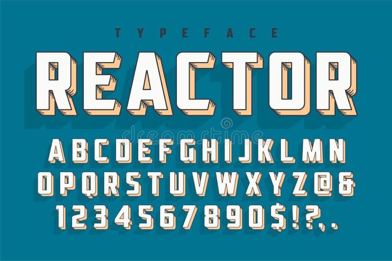 Diseño retro del popart de la fuente de la exhibición del reactor, alfabeto, letras libre illustration