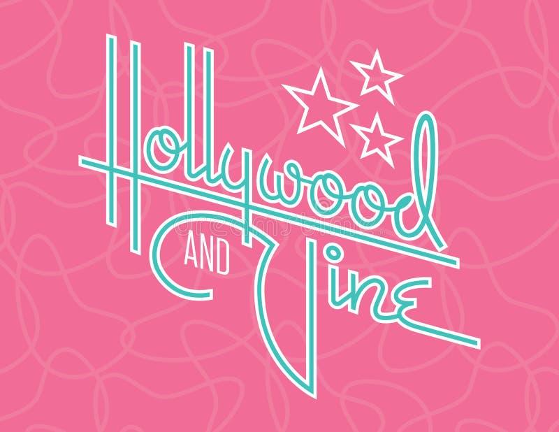 Diseño retro del vector de Hollywood y de la vid con las estrellas stock de ilustración
