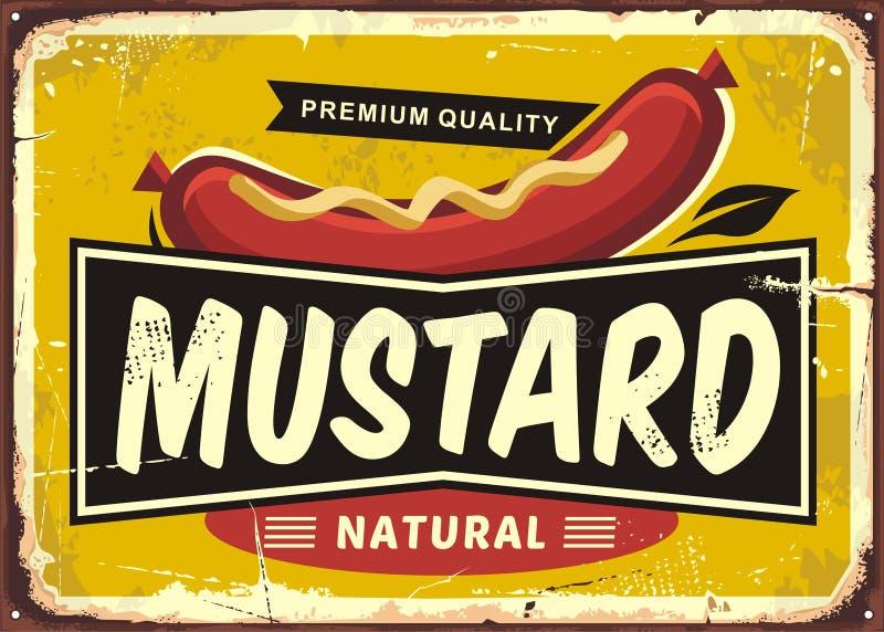Diseño retro promocional de la etiqueta de la mostaza stock de ilustración
