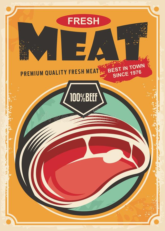Diseño retro promocional del cartel de la carne fresca libre illustration