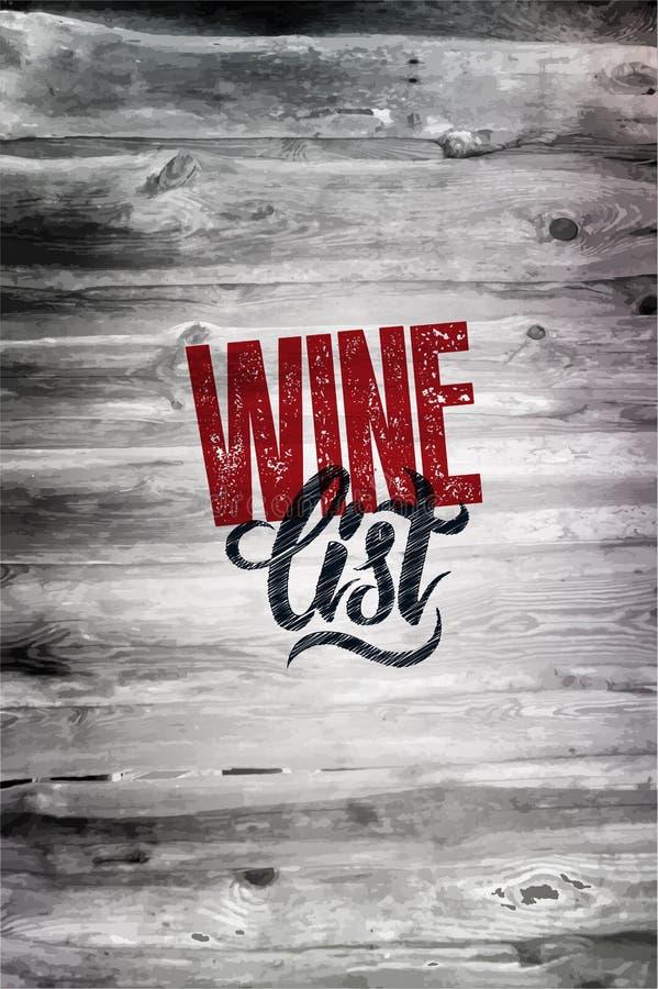 Diseño retro tipográfico de la carta de vinos del grunge en el fondo de madera Ilustración del vector EPS 10 ilustración del vector