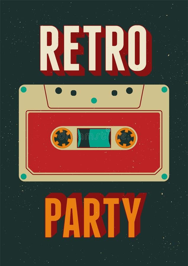 Diseño retro tipográfico del cartel del partido con un casete audio Ejemplo del vector del vintage stock de ilustración