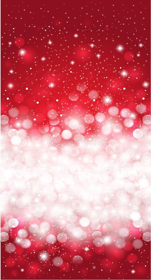Diseño rojo brillante del fondo del copo de nieve de la invitación de la Navidad del invierno stock de ilustración