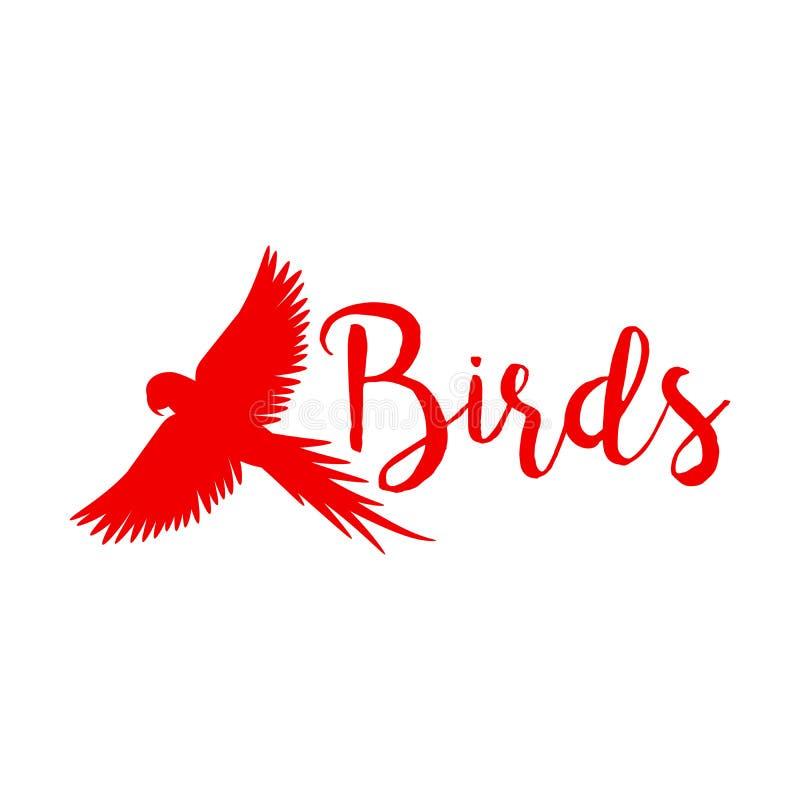 Diseño rojo del logotipo con el pájaro de vuelo ilustración del vector