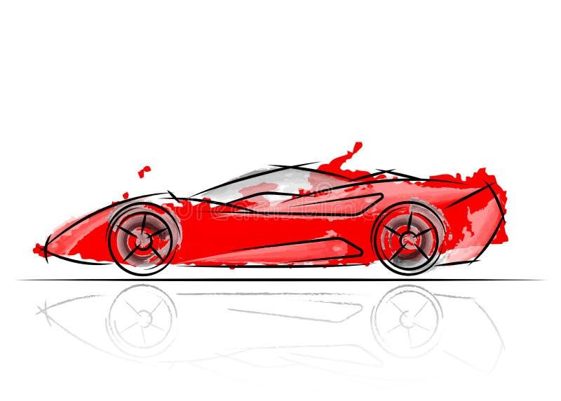 Diseño rojo estilizado del coche, estilo de la acuarela del ejemplo del vector un dibujo de bosquejo ilustración del vector