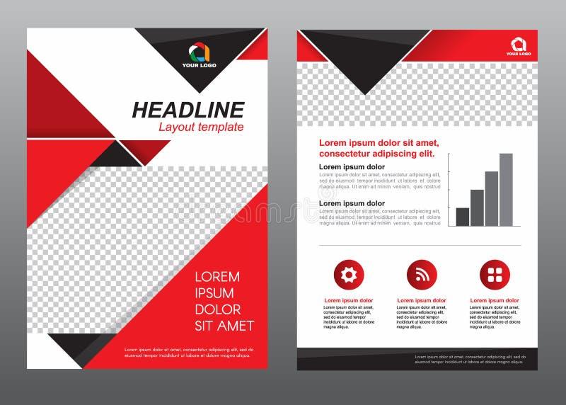 Diseño rojo y negro de la página de cubierta del tamaño A4 de la plantilla del aviador de la disposición del tono del vector libre illustration