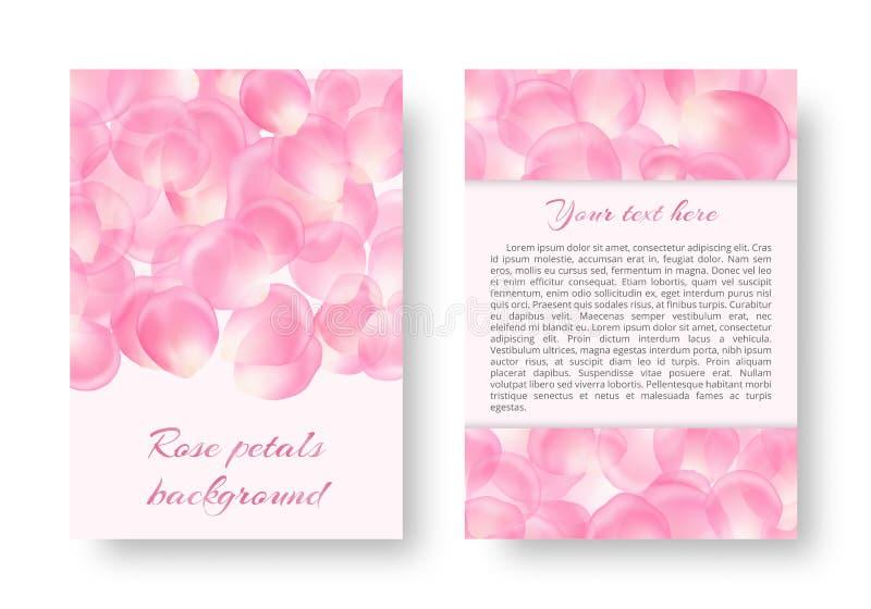Diseño romántico con los pétalos color de rosa libre illustration