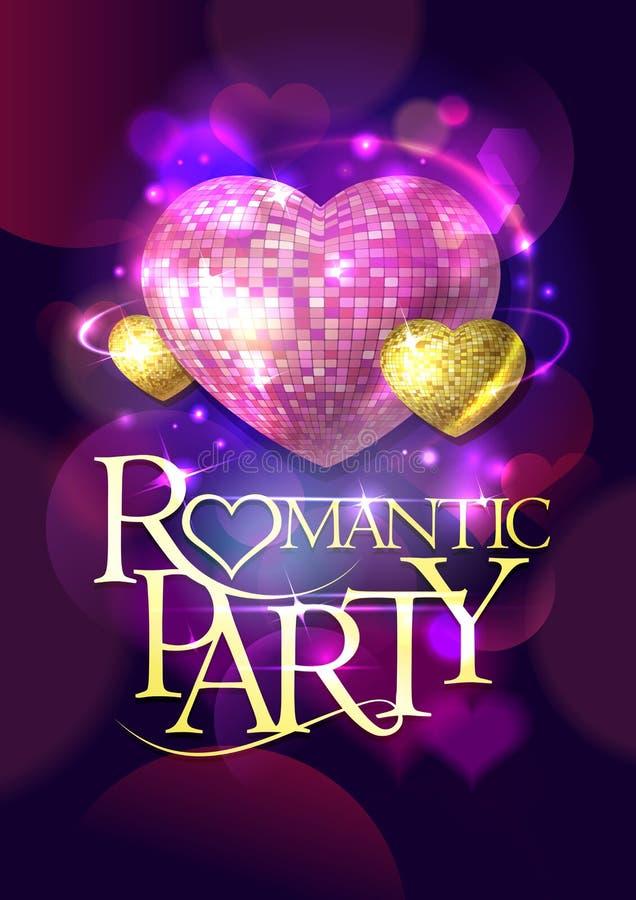 Diseño romántico del partido con oro y corazones rosados del mosaico stock de ilustración