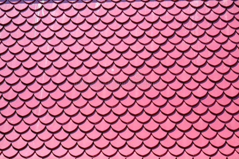 Diseño rosado del color de las tejas de tejado las mismas escalas de pescados imagenes de archivo