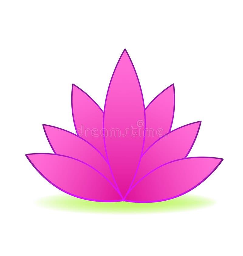 Diseño rosado del logotipo de la flor de loto ilustración del vector