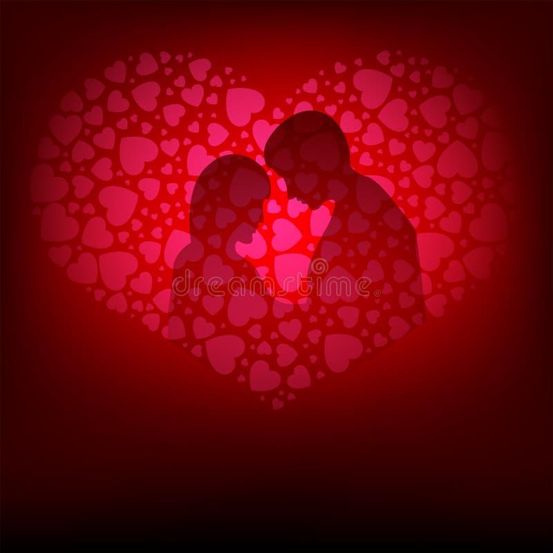 Diseño rosado, la silueta de amantes ilustración del vector