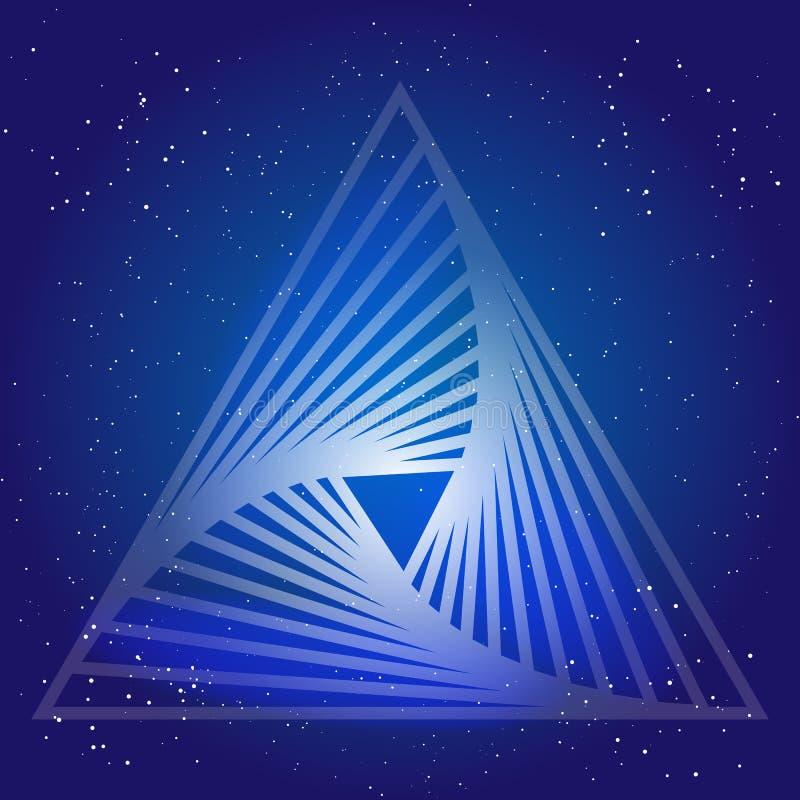 Diseño sacro de la geometría con el triángulo en el fondo del espacio y de las estrellas Símbolo mágico ilustración del vector