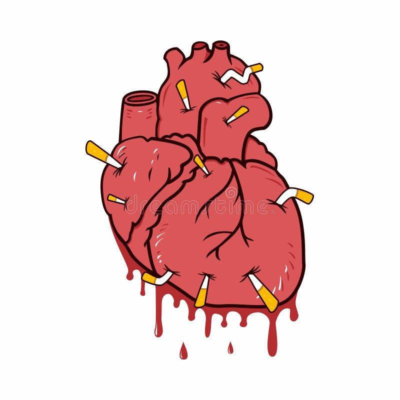 Diseño sangriento del vector del ejemplo de la historieta del corazón de fumador fotografía de archivo libre de regalías