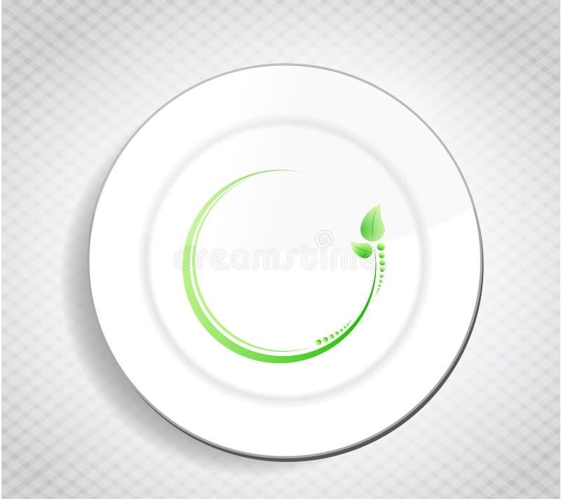 Diseño sano de la licencia de la comida sobre un plato ilustración del vector