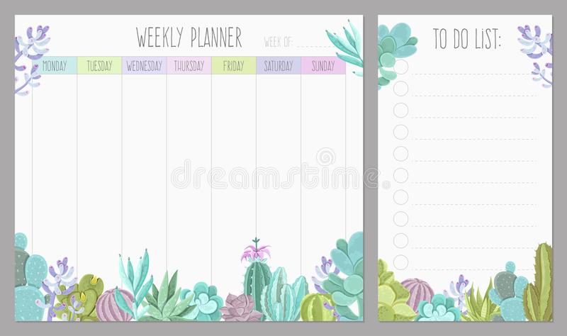 Diseño semanal del planificador stock de ilustración