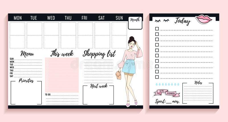Diseño semanal y diario del jefe de la muchacha del planificador con los elementos de la moda y las mujeres jovenes ilustración del vector