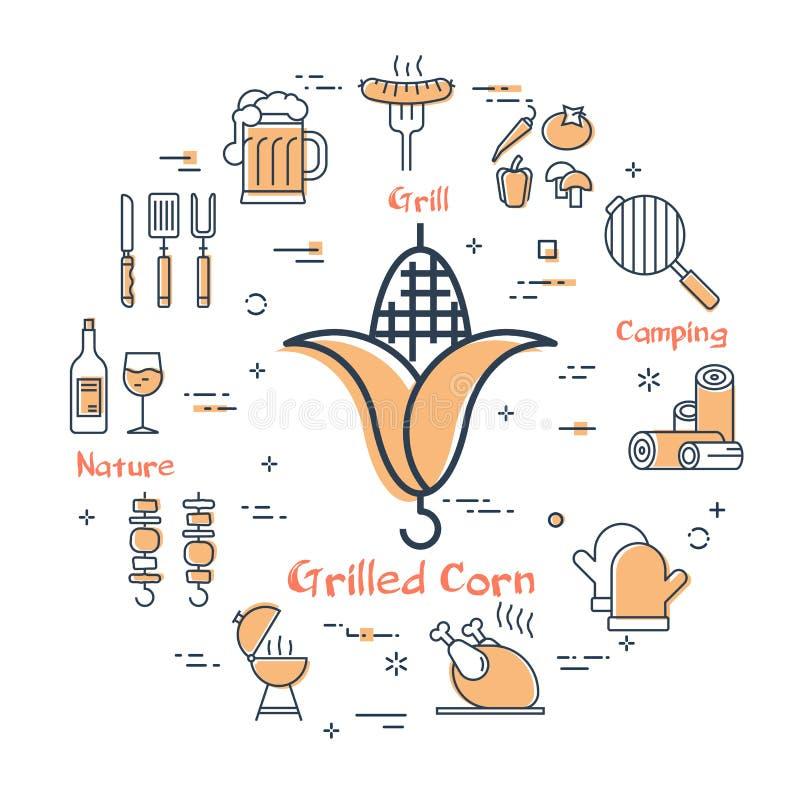 Diseño simple de iconos de la barbacoa en blanco libre illustration