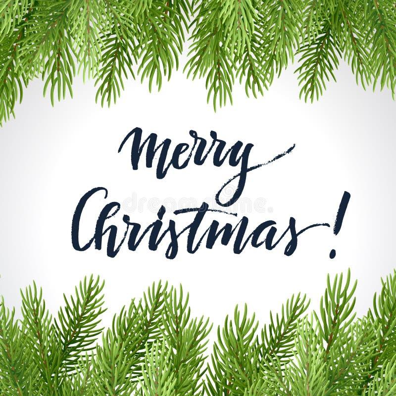 Diseño simple de la Navidad con las ramas de la picea y letras en un fondo ligero Ilustraci?n del vector stock de ilustración