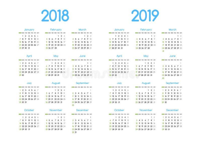 Diseño simple moderno del calendario del vector del Año Nuevo 2018 y 2019 ilustración del vector