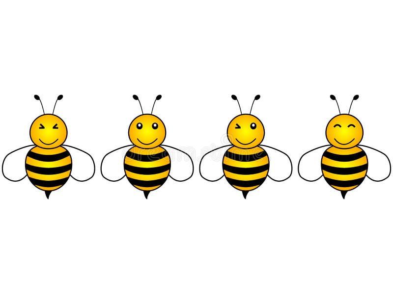 Diseño simple precioso de abejas amarillas y negras de una historieta ilustración del vector