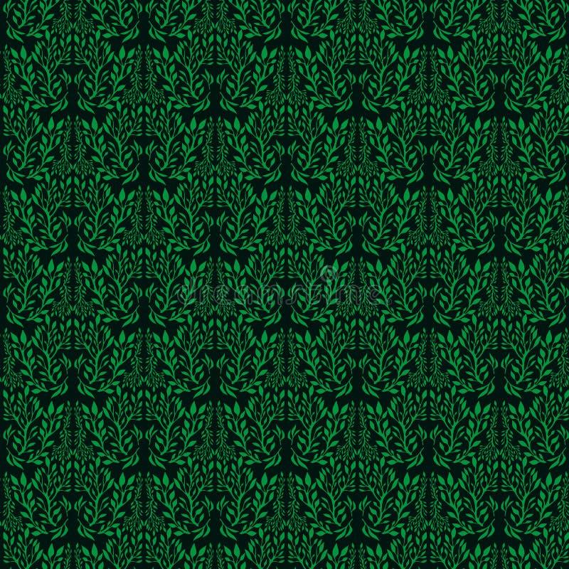 Diseño sin inconvenientes con plantas decorativas adornadas, color gris aislado fondo verde oscuro ilustración del vector