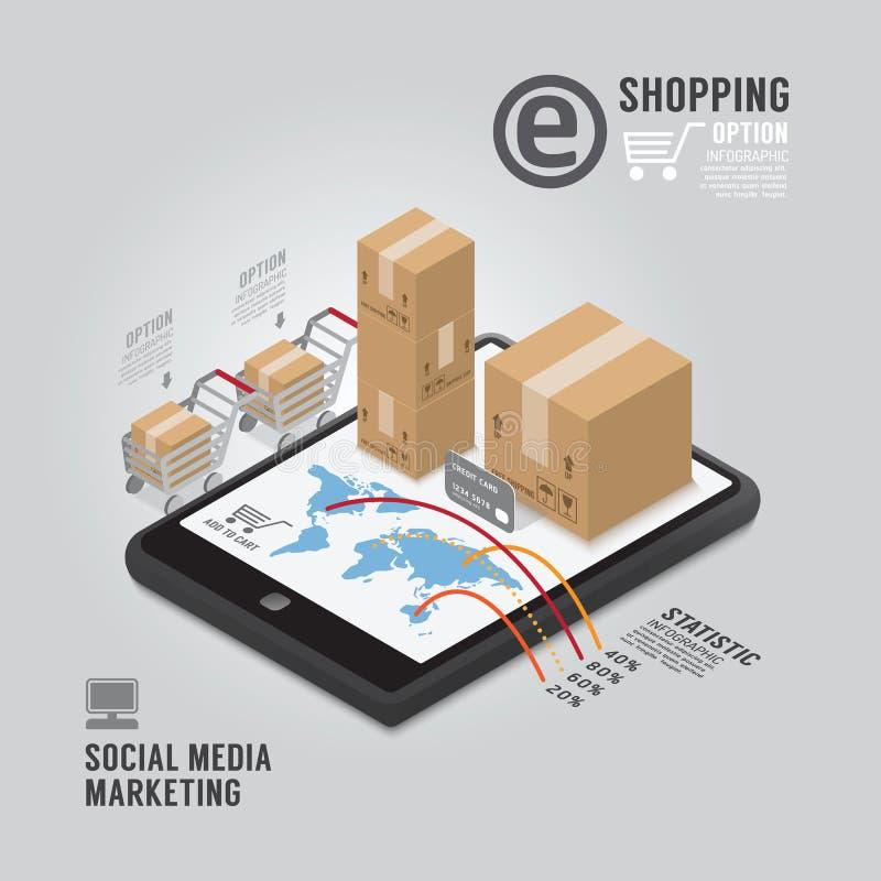 Diseño social de la plantilla del márketing de Infographic medios stock de ilustración