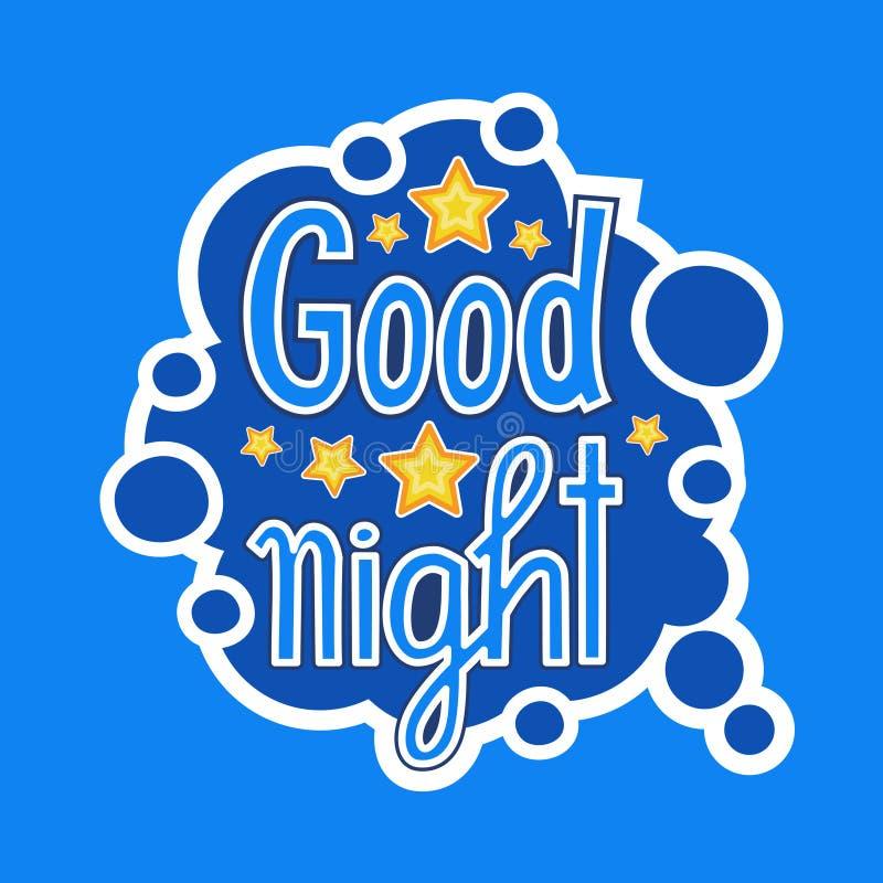 Diseño social de las insignias del mensaje de red de la etiqueta engomada de las buenas noches medios stock de ilustración