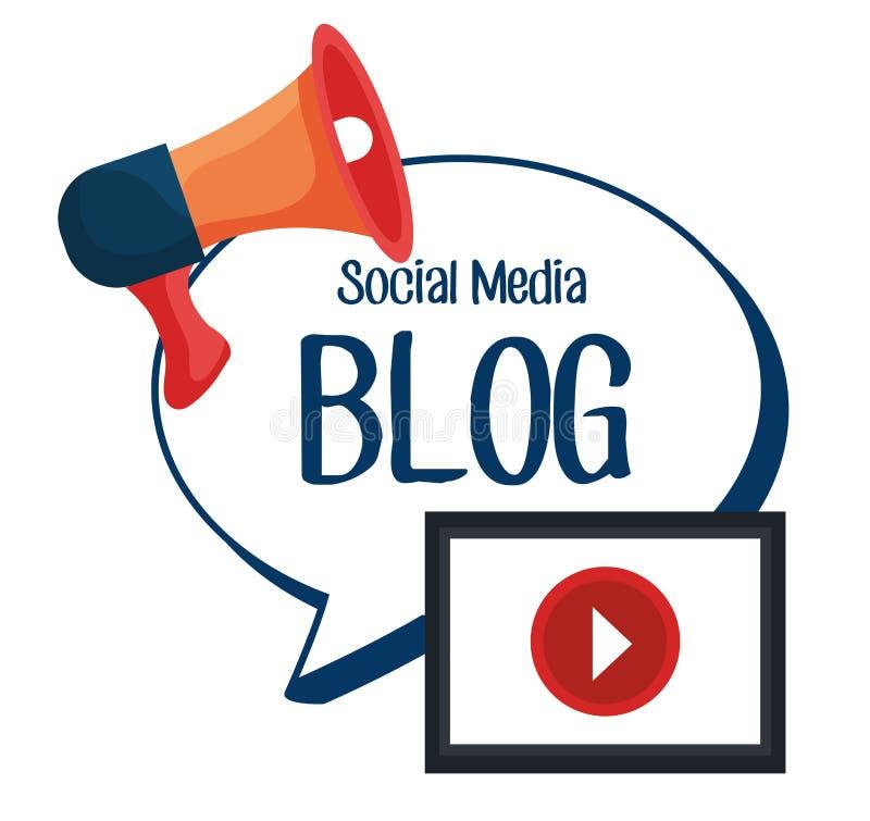 Diseño social de los medios del blog y del blogger stock de ilustración