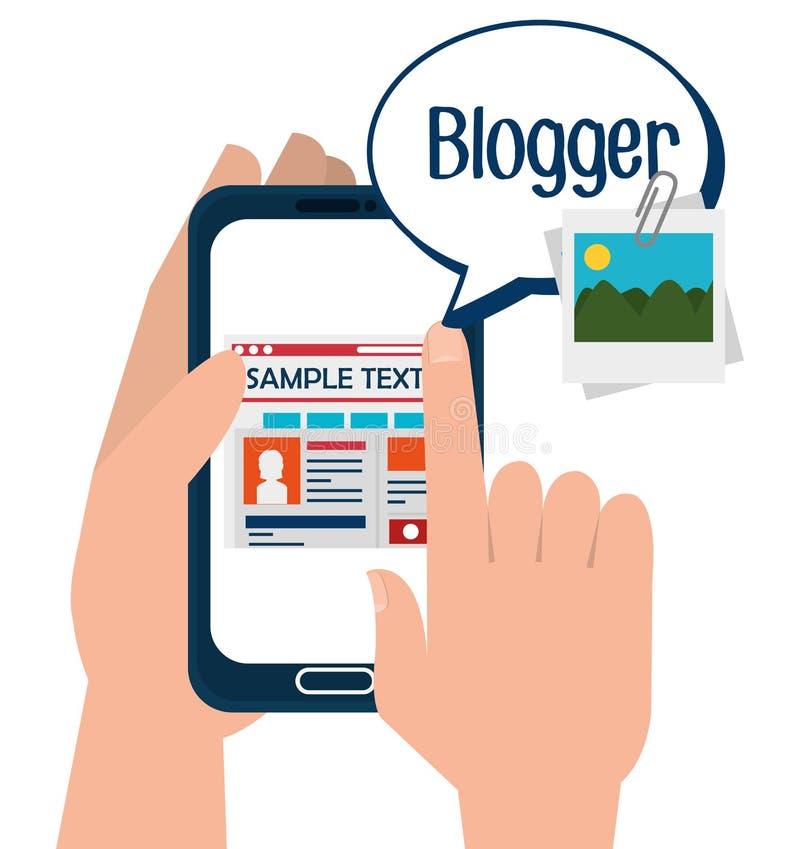 Diseño social de los medios del blog y del blogger ilustración del vector