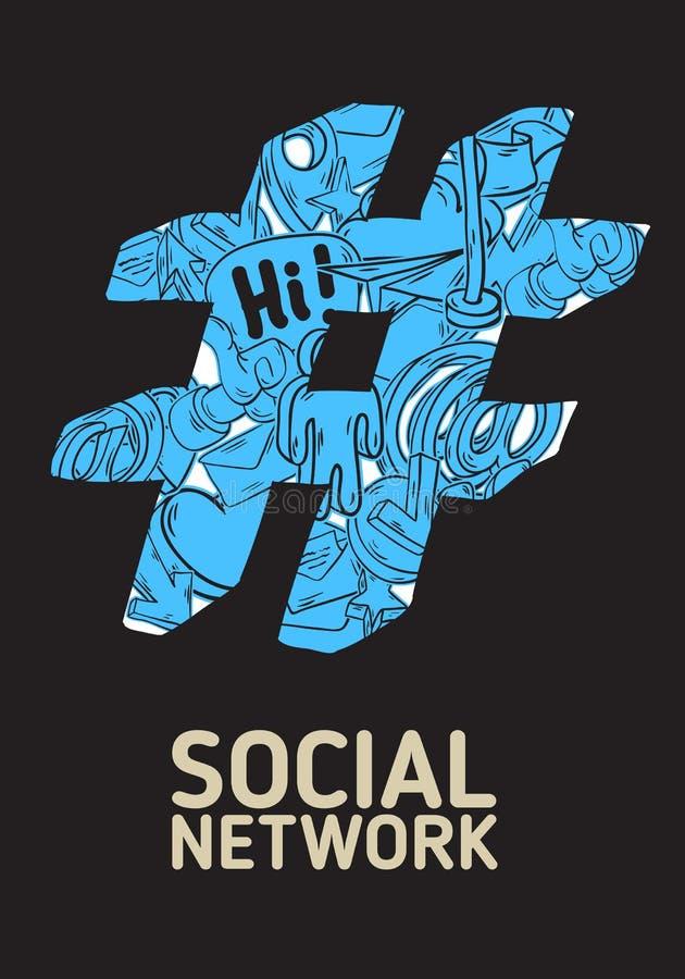 Diseño social del cartel de Hashtag de la red con aislado libre illustration