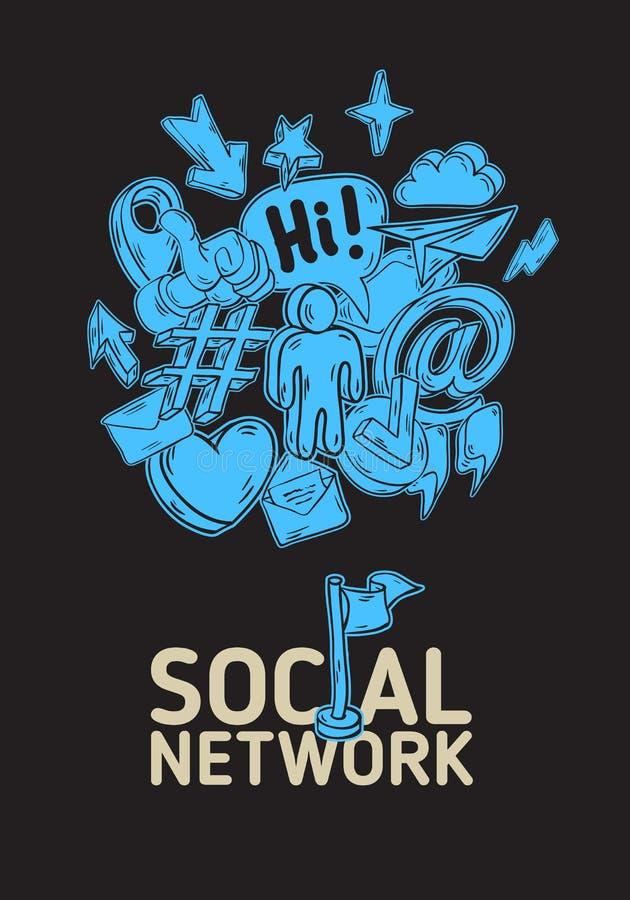 Diseño social del cartel de la red con los iconos relacionados esenciales aislados de los objetos y la mano artística de la histo stock de ilustración