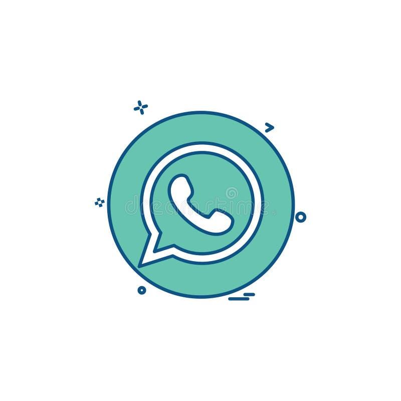 diseño social del vector del icono del whatsapp de la medios red stock de ilustración