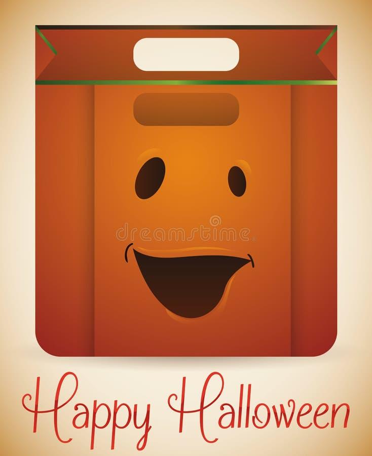 Diseño sonriente del panier de la calabaza de Halloween, ejemplo del vector stock de ilustración