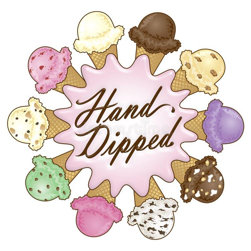 Diseño sumergido mano del helado stock de ilustración