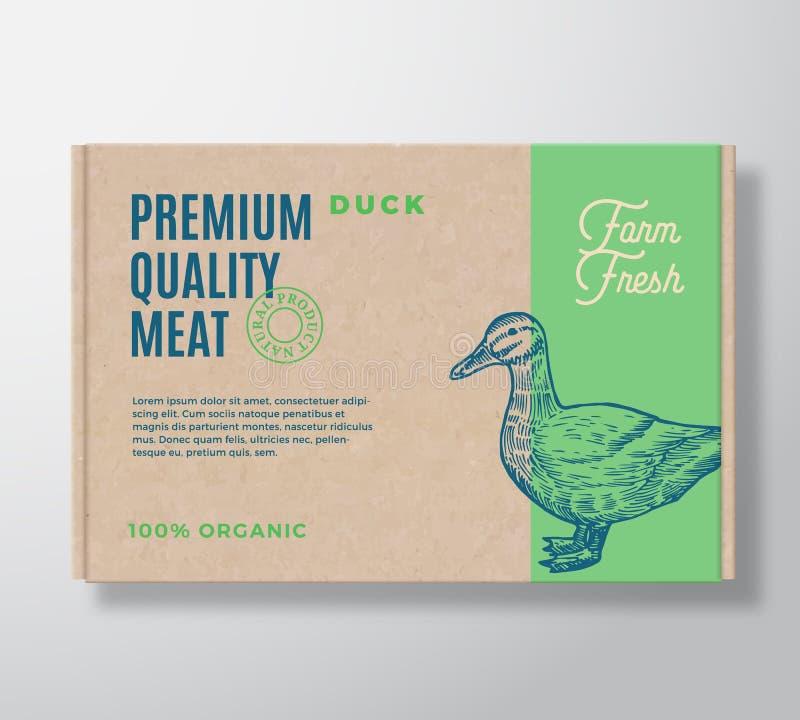 Diseño superior de Duck Vector Meat Packaging Label de la calidad en un envase de la caja de cartón del arte Tipografía y mano mo stock de ilustración