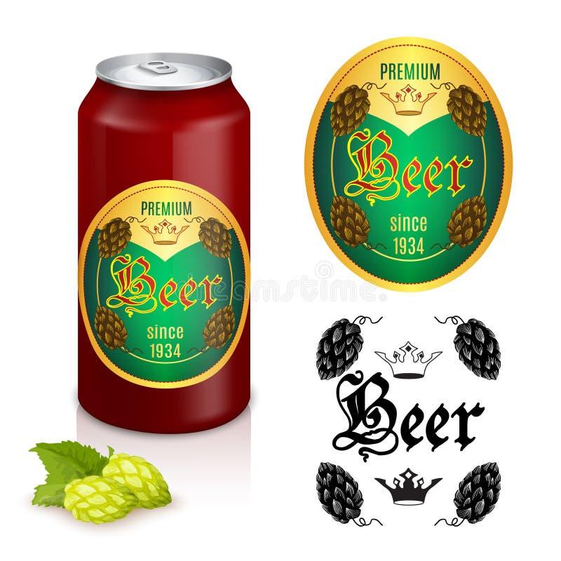 Diseño superior de la etiqueta de la cerveza stock de ilustración