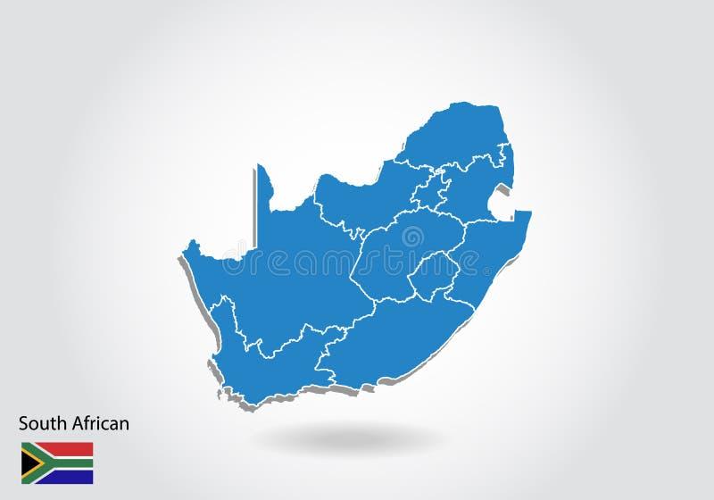 Diseño surafricano del mapa con el estilo 3D Mapa surafricano azul y bandera nacional Mapa simple del vector con el contorno, for libre illustration