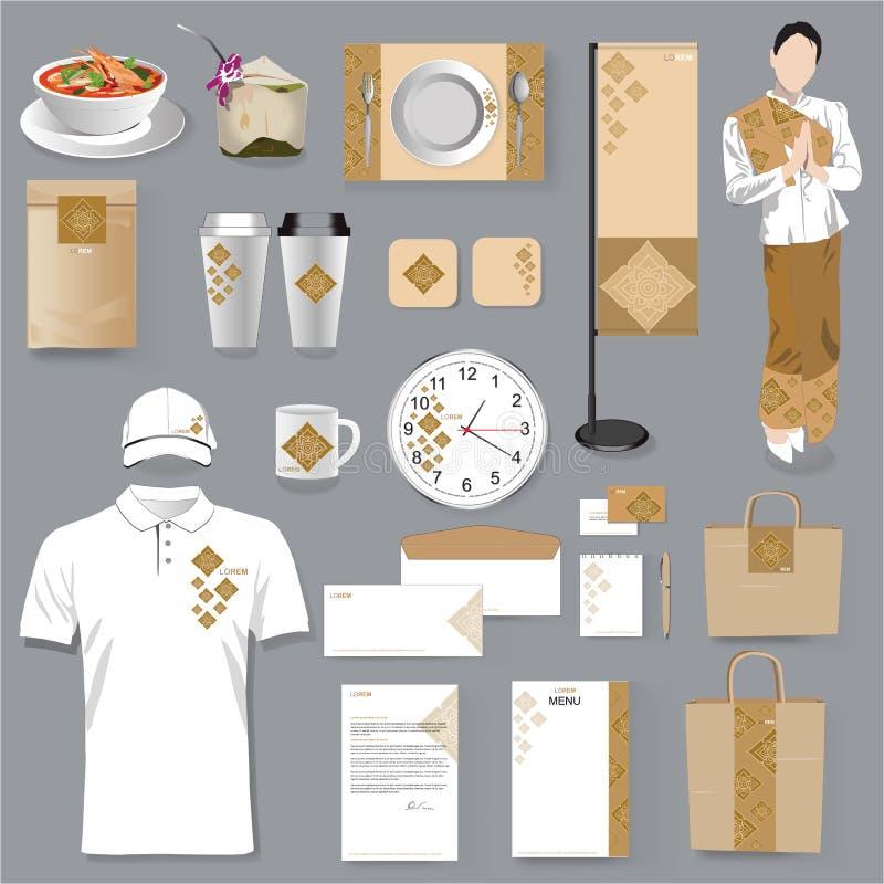Diseño tailandés de la identidad corporativa del restaurante Vector tailandés Illus del arte stock de ilustración