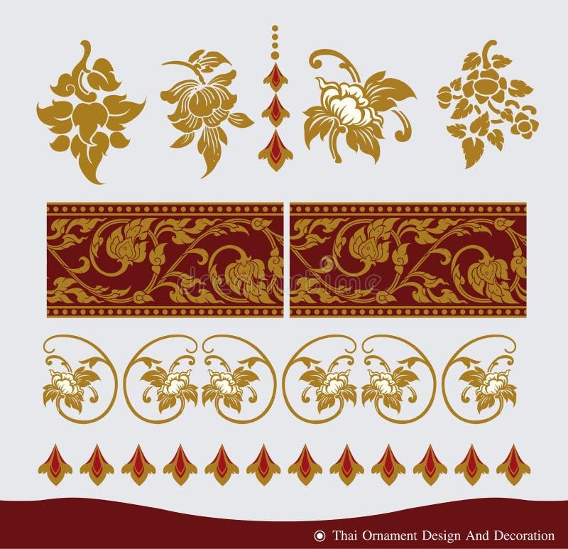 Diseño tailandés del ornamento y del modelo del vintage stock de ilustración